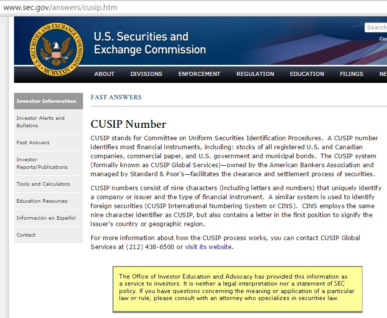CUSIP Numbers - WE THE PEOPLE\'s Constitution
